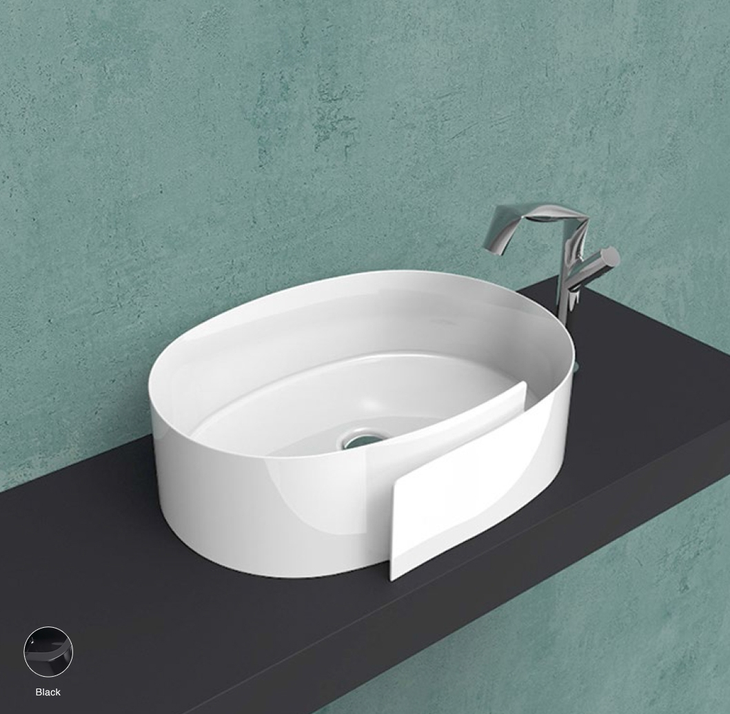 Roll Countertop basin 56 cm without overflow, without tap ledge Black