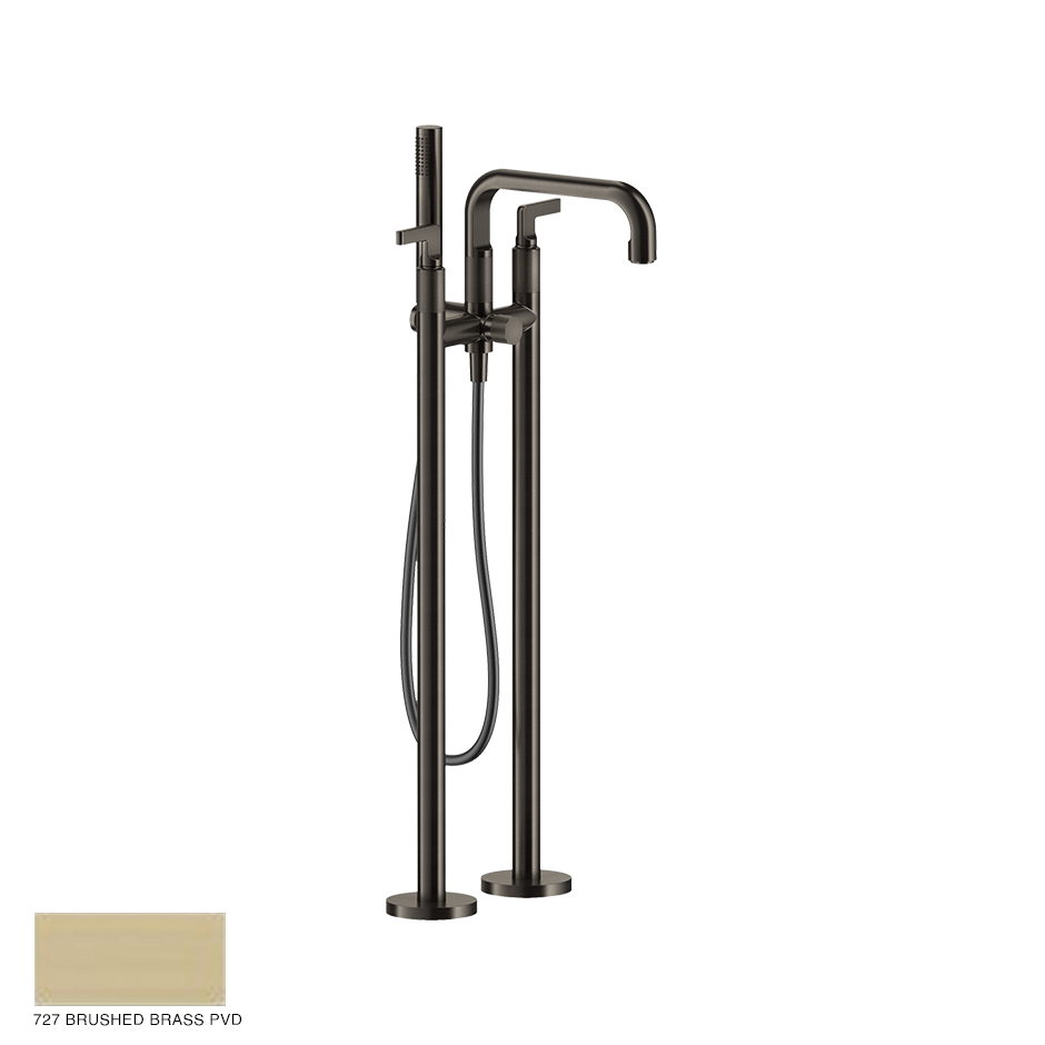 Inciso- Freestanding Bath Mixer with handshower 727 Brushed Brass PVD