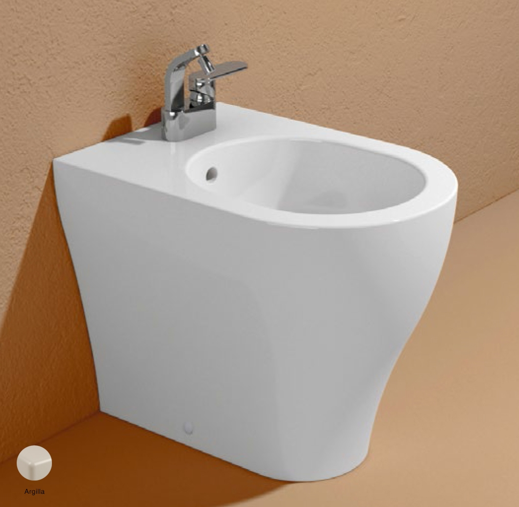 App Back to wall single-hole bidet with overflow, without tap hole Argilla