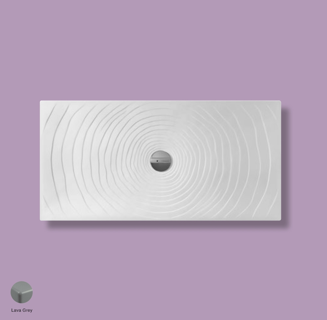 Water Drop Laid on or built-in in the floor shower tray 140x70 cm Lava Grey