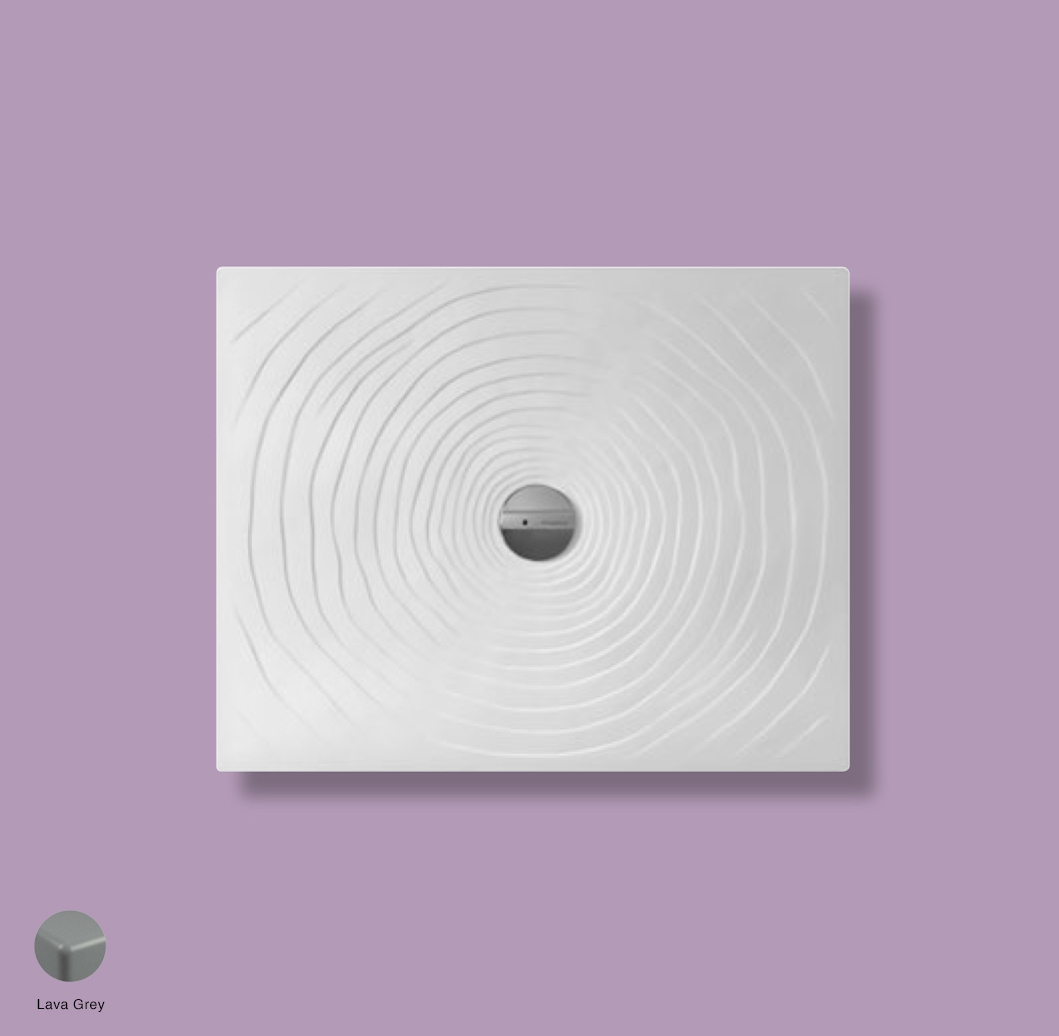 Water Drop Laid on or built-in in the floor shower tray 80x100 cm Lava Grey