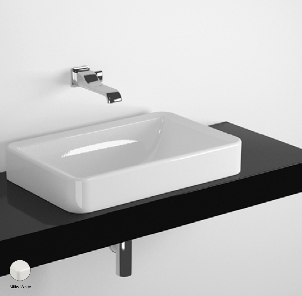 Nile Shelf from 80 to 250 x 46 x h 10 cm, for Nile 62 recessed basin Milky White