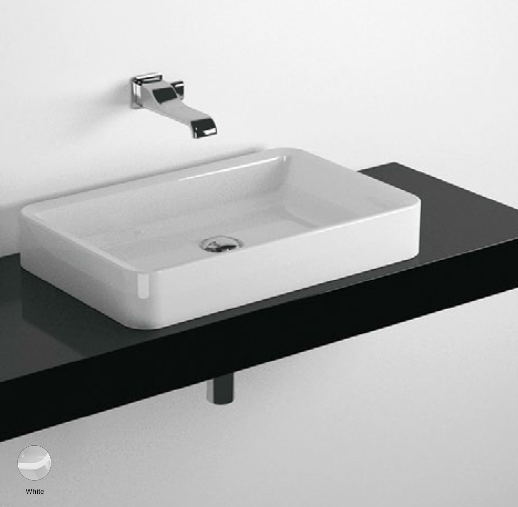 Nile Shelf from 80 to 250 x 46 x h 10 cm suitable for countertop basins White
