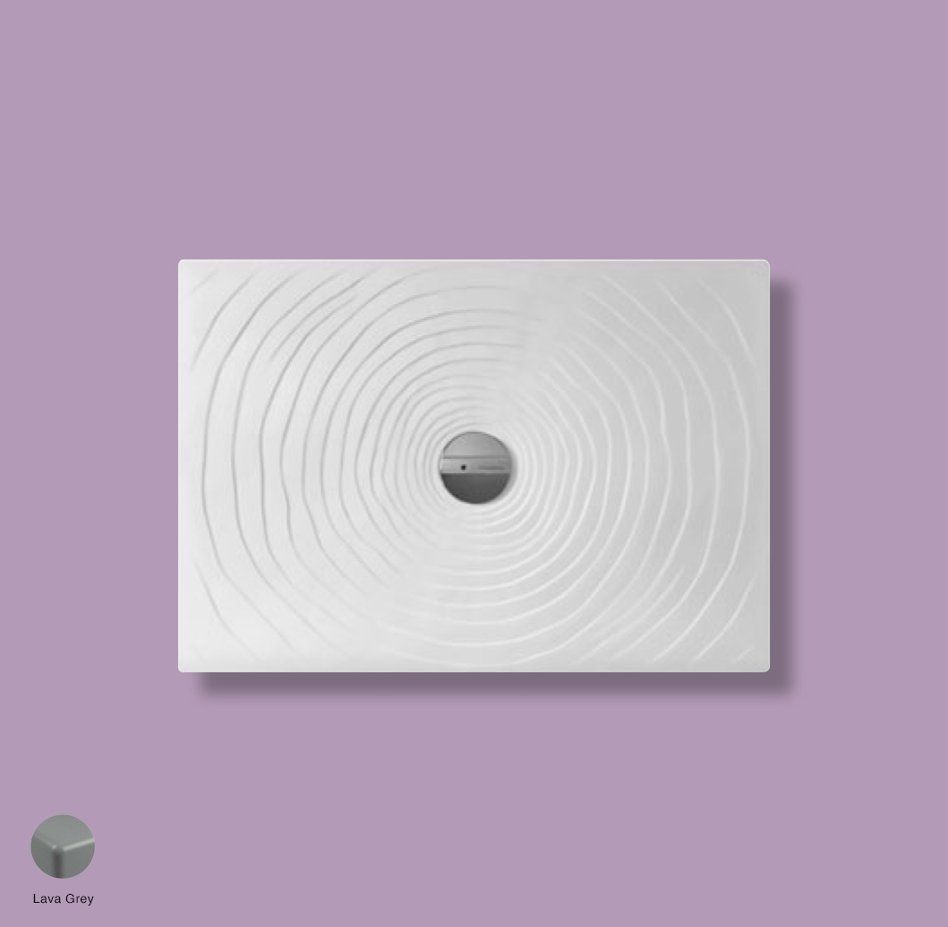 Water Drop Laid on or built-in in the floor shower tray 100x70 cm Lava Grey