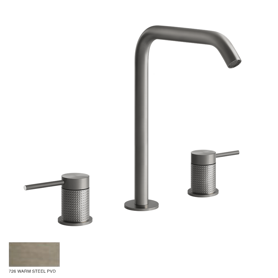 Gessi 316 Three-hole Basin Mixer Cesello, without waste 726 Warm Bronze Brushed PVD