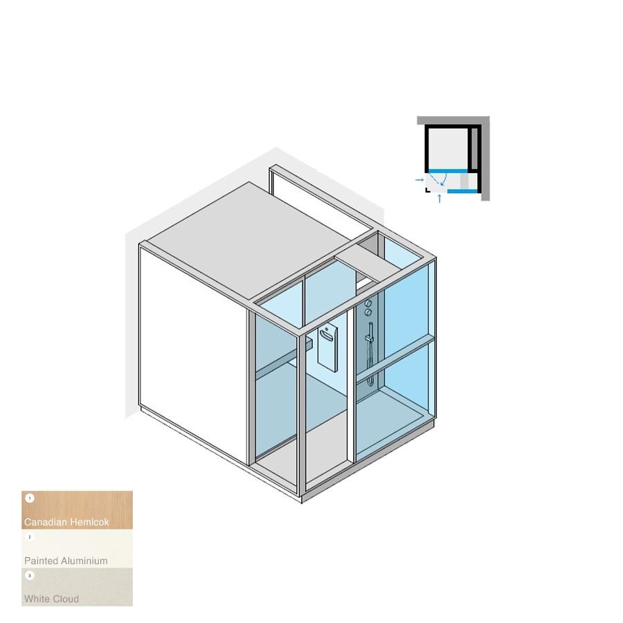 Logica H Right-Hand Corner RH White Cloud 214x250x226h 4.5kW