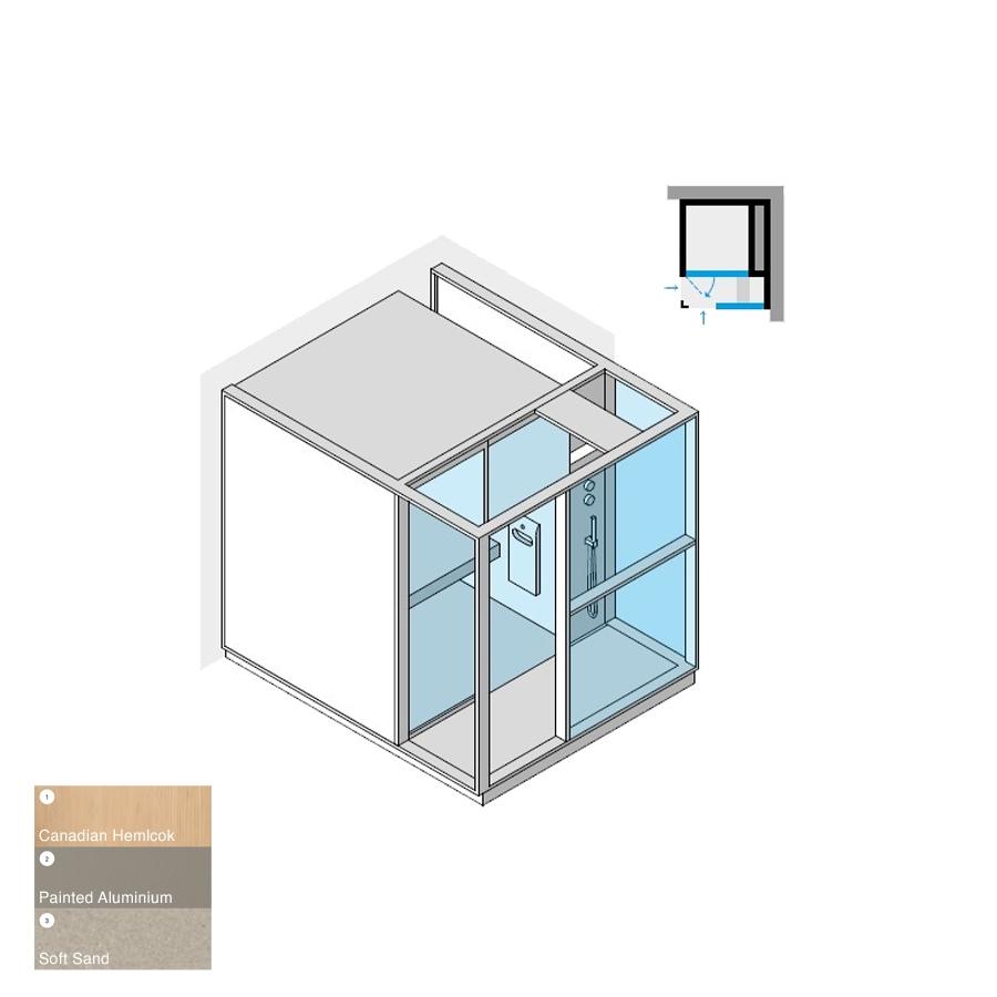 Logica H Right-Hand Corner RH Soft Sand 214x250x226h 4.5kW