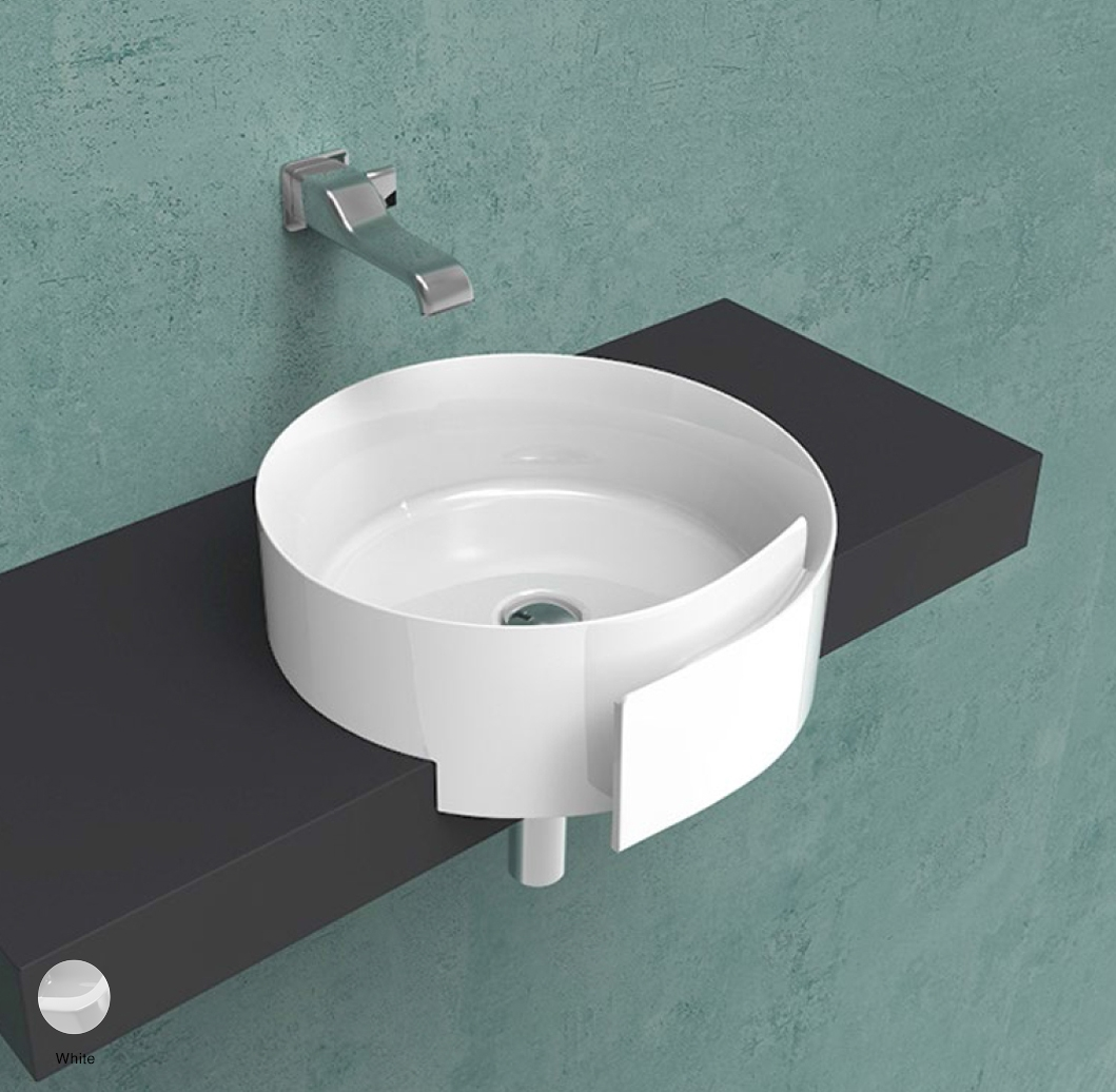 Roll Semi-inset basin 44 cm without overflow, without tap ledge White