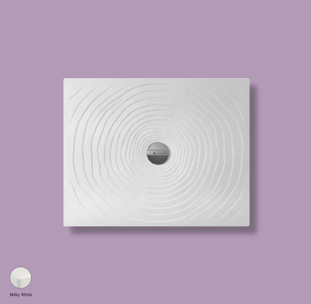 Water Drop Laid on or built-in in the floor shower tray 80x100 cm Milky White