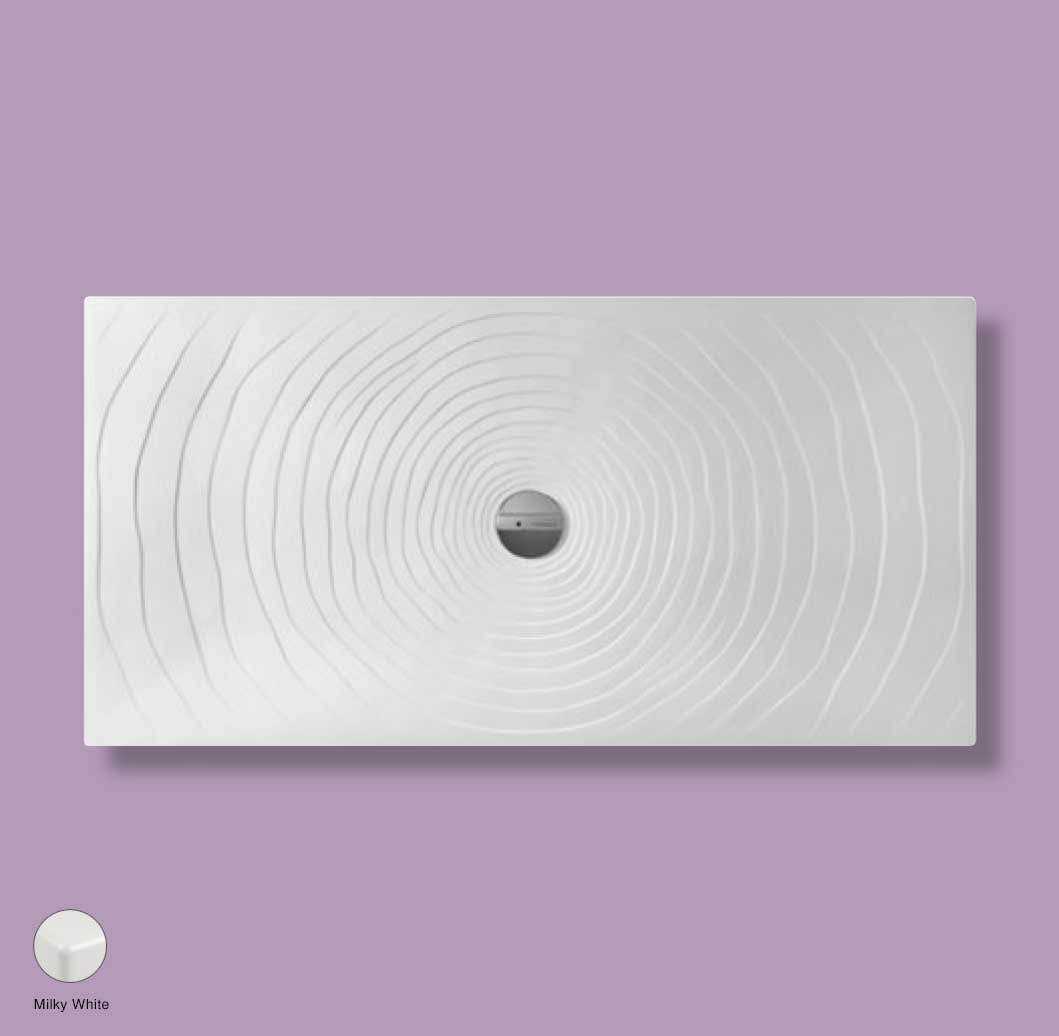Water Drop Laid on or built-in in the floor shower tray 160x80 cm Milky White