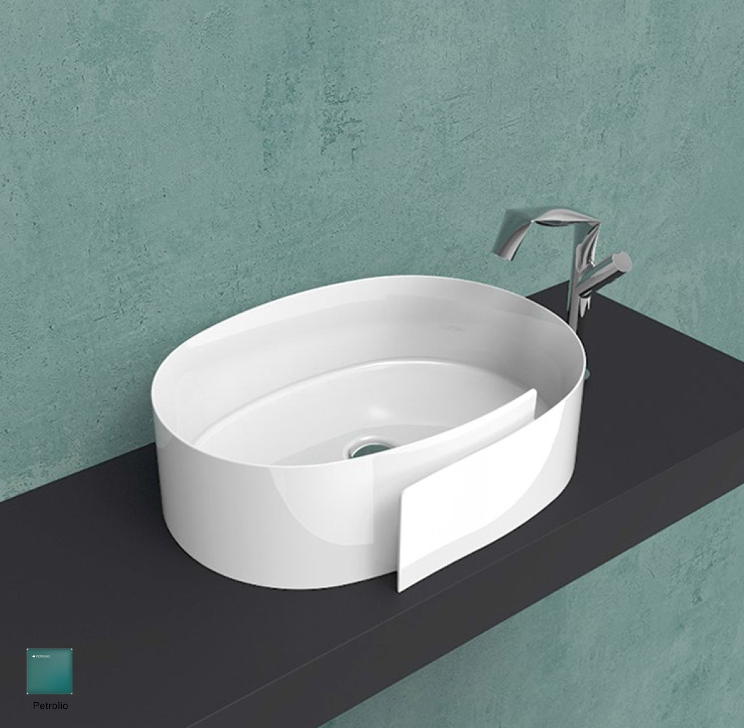Roll Countertop basin 56 cm without overflow, without tap ledge Petrolio