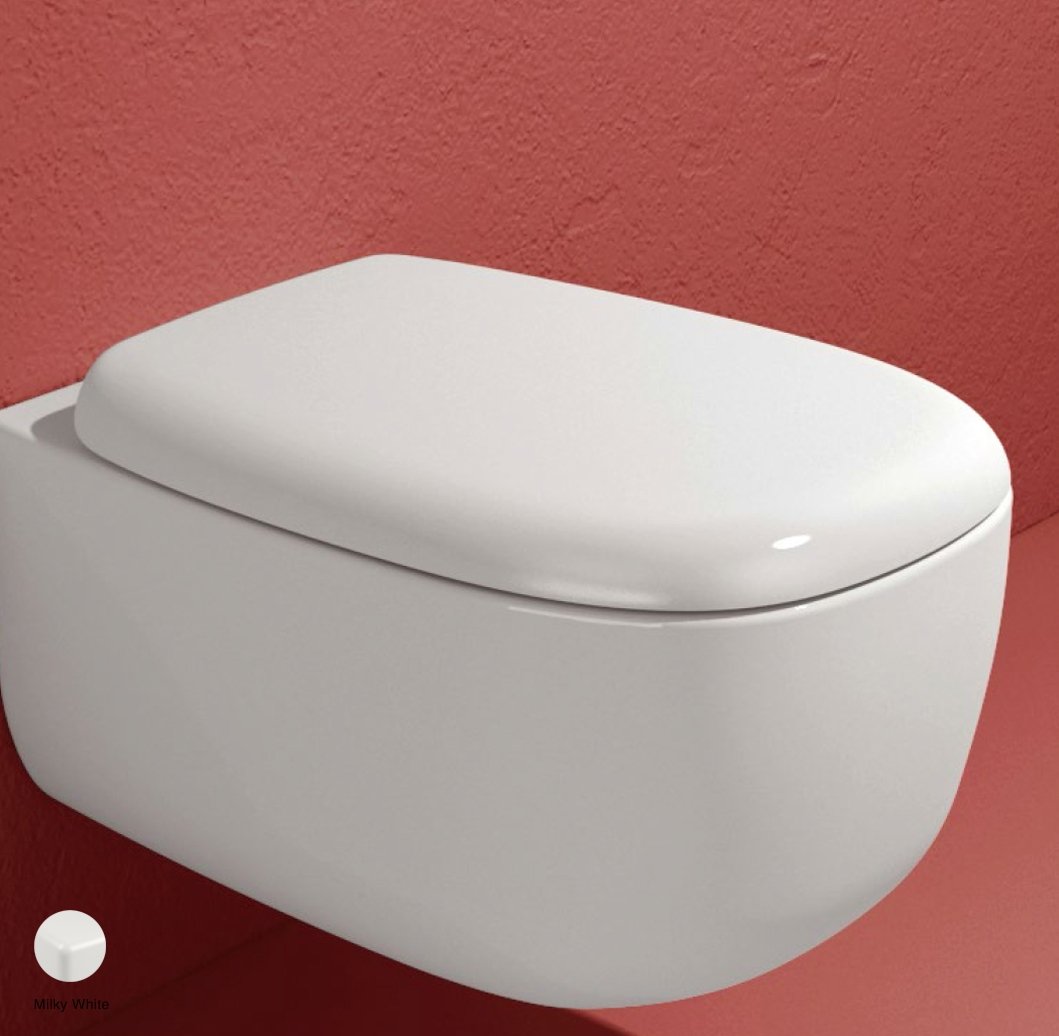 Bonola Soft-closing thermosetting wrapping seat and cover Milky White