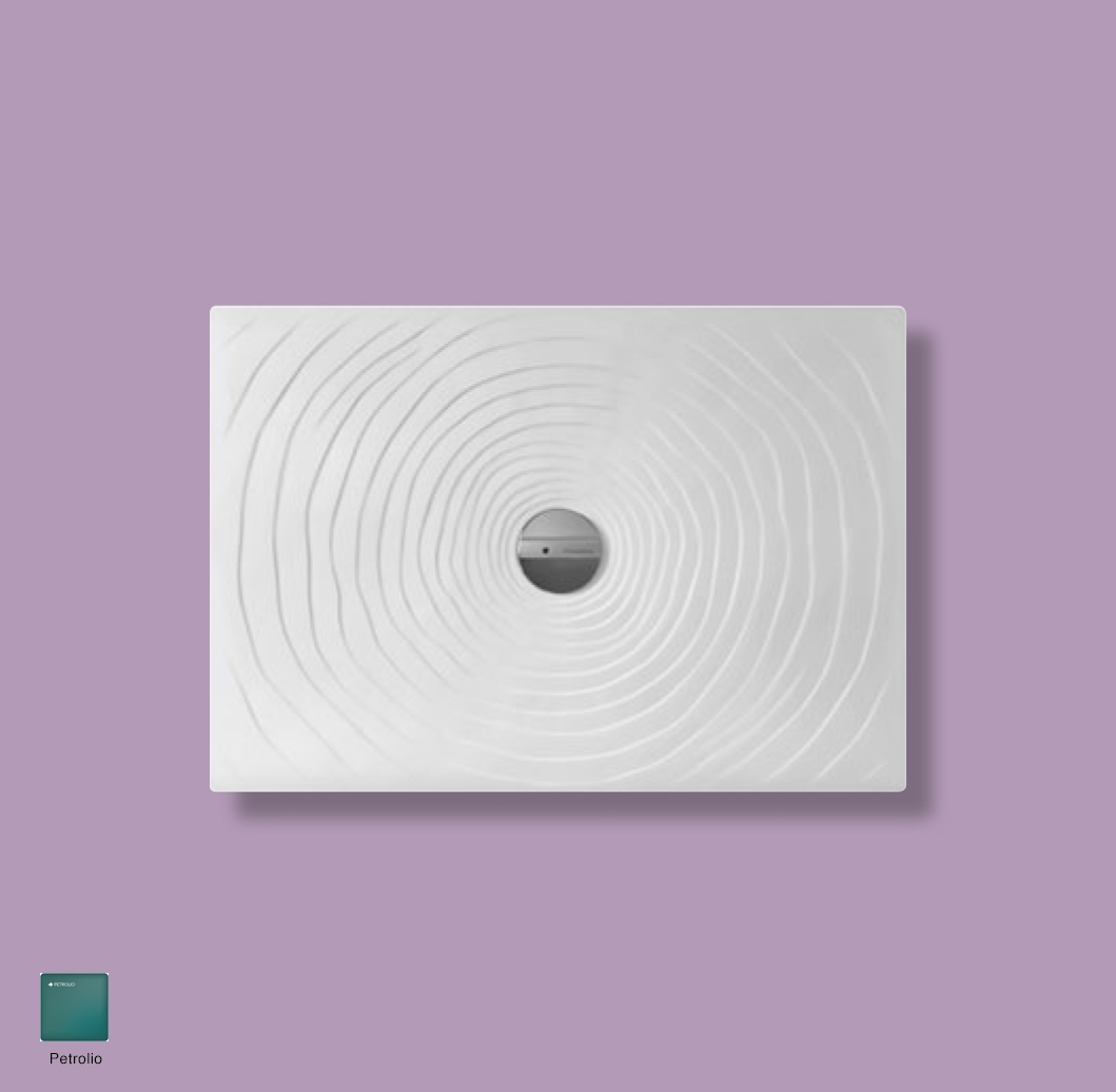 Water Drop Laid on or built-in in the floor shower tray 100x70 cm Petrolio