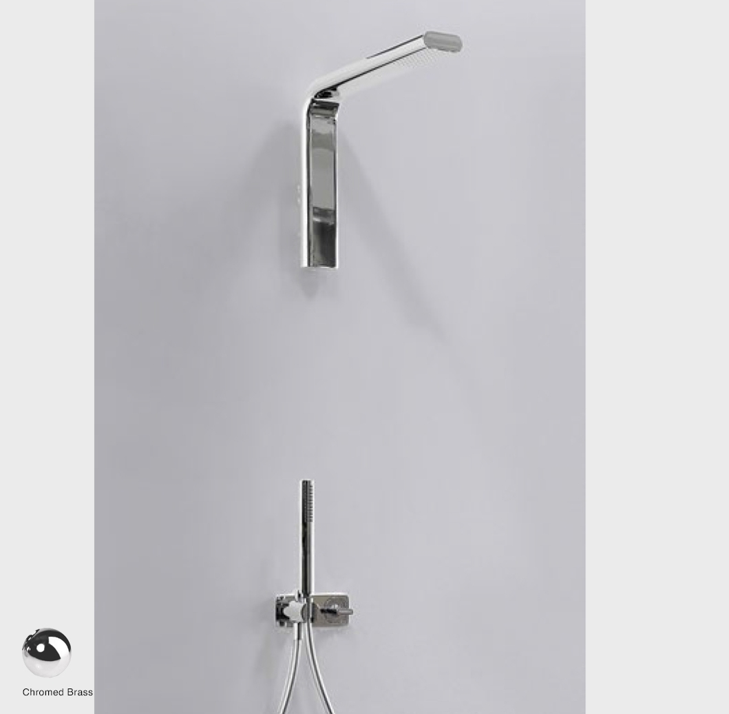 Noke Concealed shower set with overhead, mixer and handshower Glossy Chrome