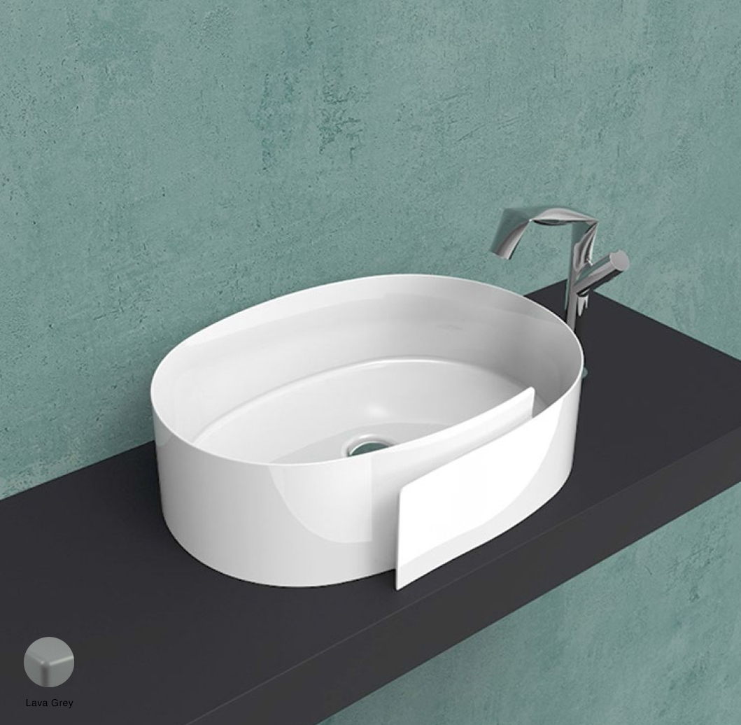 Roll Countertop basin 56 cm without overflow, without tap ledge Lava Grey