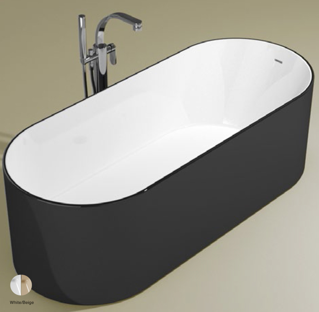Oval Bath-tub 170 cm in Pietraluce BICOLOR White/Beige