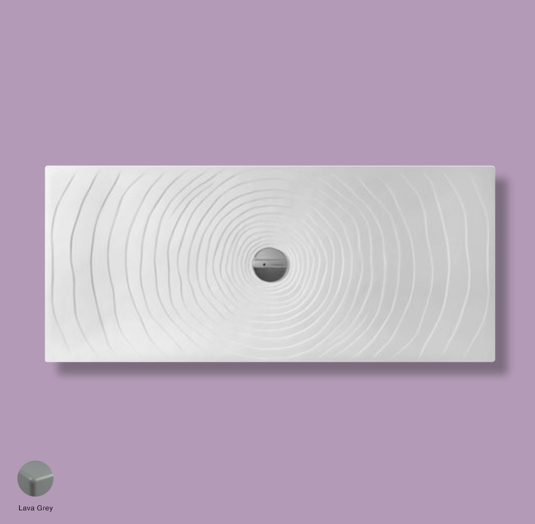 Water Drop Laid on or built-in in the floor shower tray 160x70 cm Lava Grey