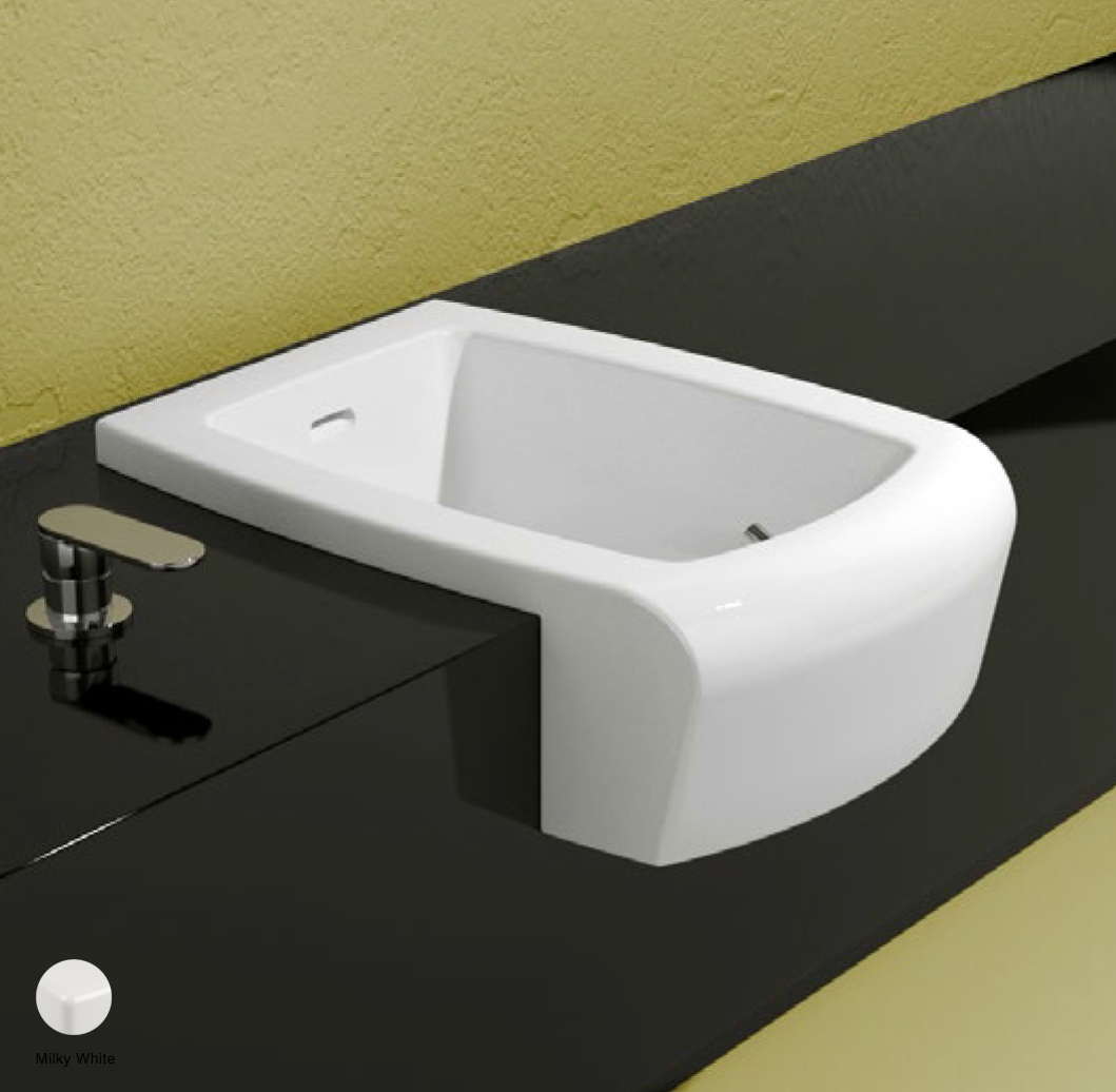 Una Semi-inset bidet with overflow, without tap ledge Milky White