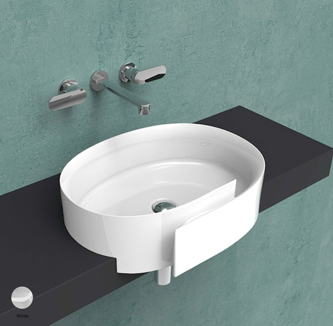 Roll Semi-inset basin 56 cm without overflow, without tap ledge White