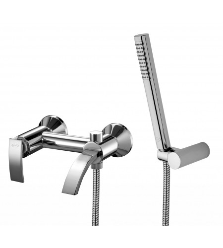 Ray Wall-mounted Bath Mixer with spout and handshower Chrome