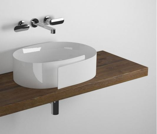 Roll Shelf from 80 to 200 x 46 x h 6 cm suitable for Roll 56 basin Brown