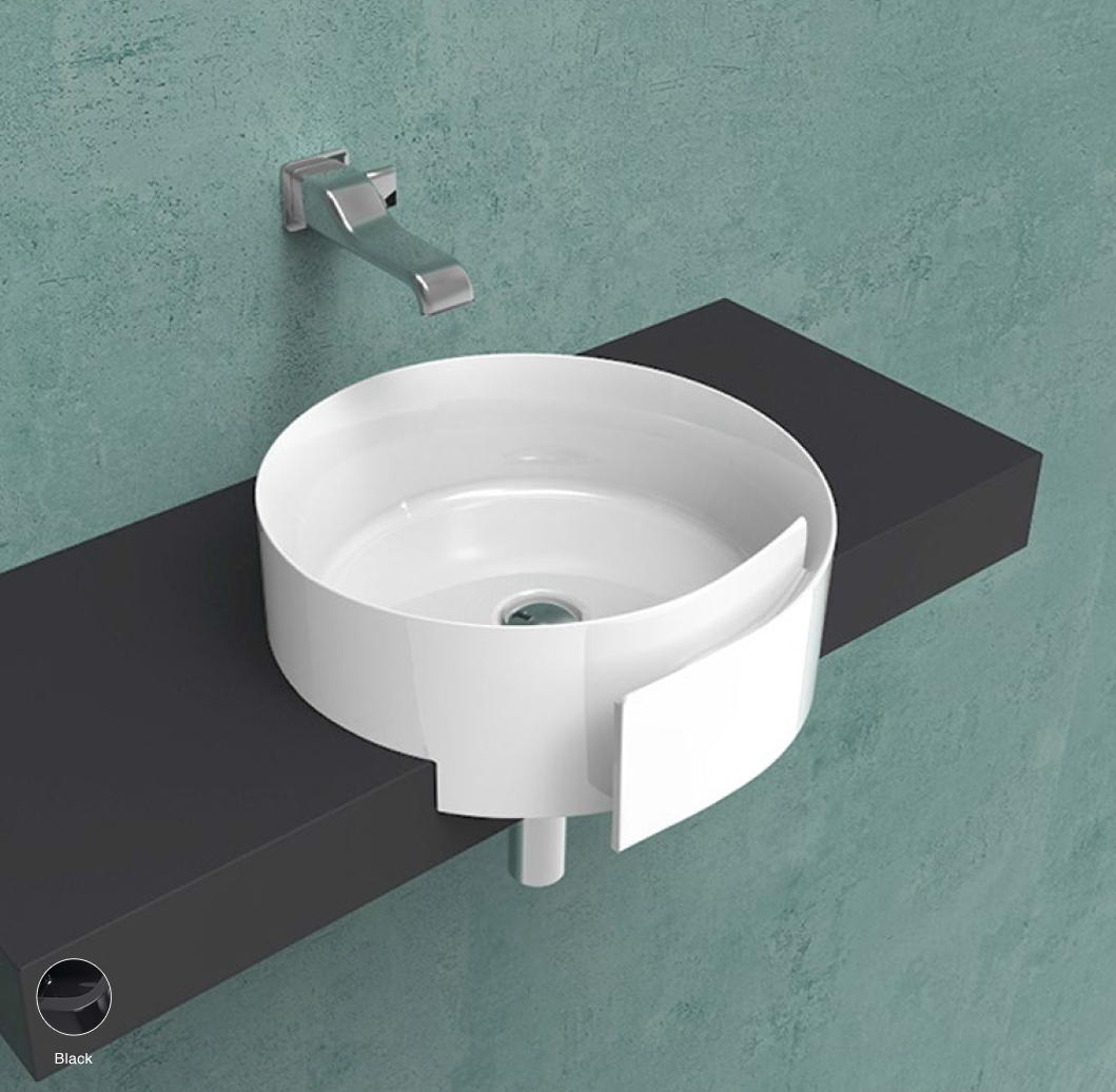 Roll Semi-inset basin 44 cm without overflow, without tap ledge Black
