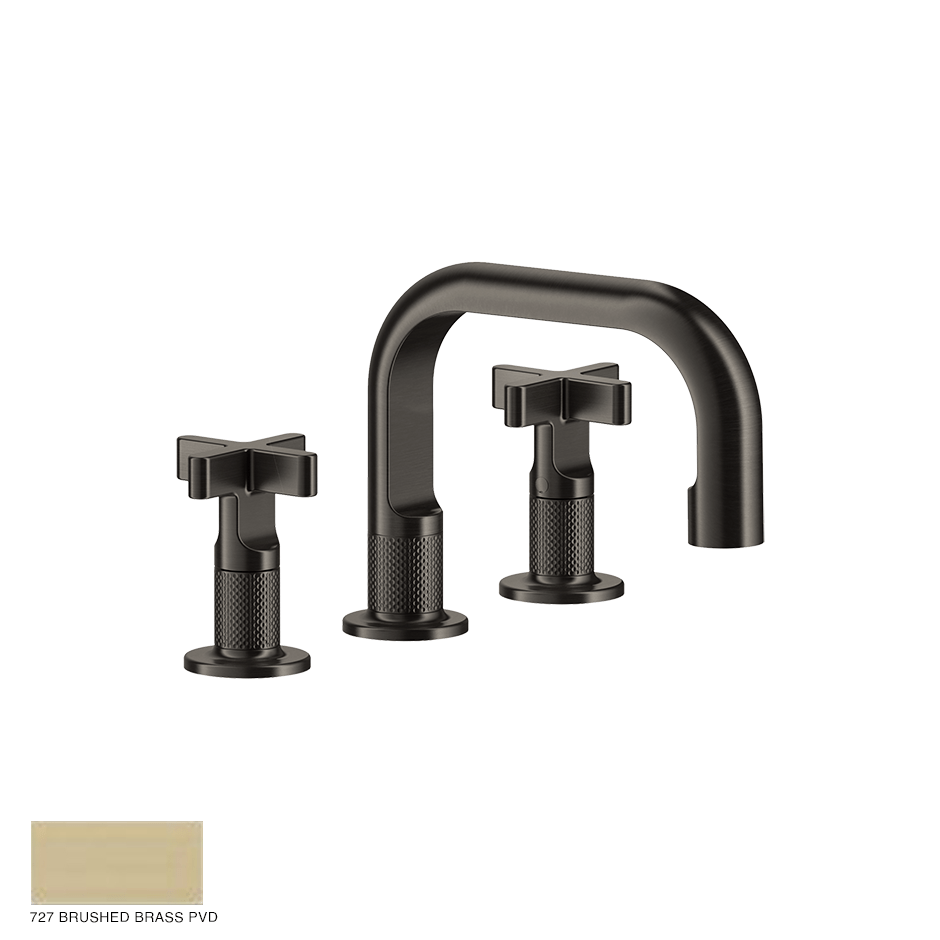 Inciso+ Three-hole Basin Mixer with spout and pop-up waste 727 Brushed Brass PVD