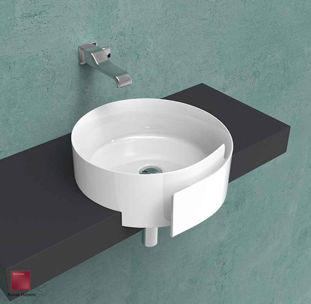 Roll Semi-inset basin 44 cm without overflow, without tap ledge Rosso Rubens