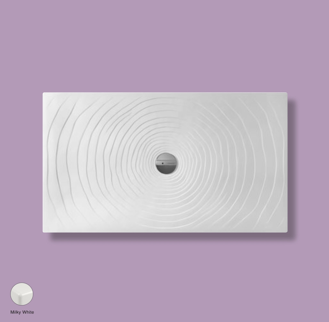 Water Drop Laid on or built-in in the floor shower tray 140x80 cm Milky White