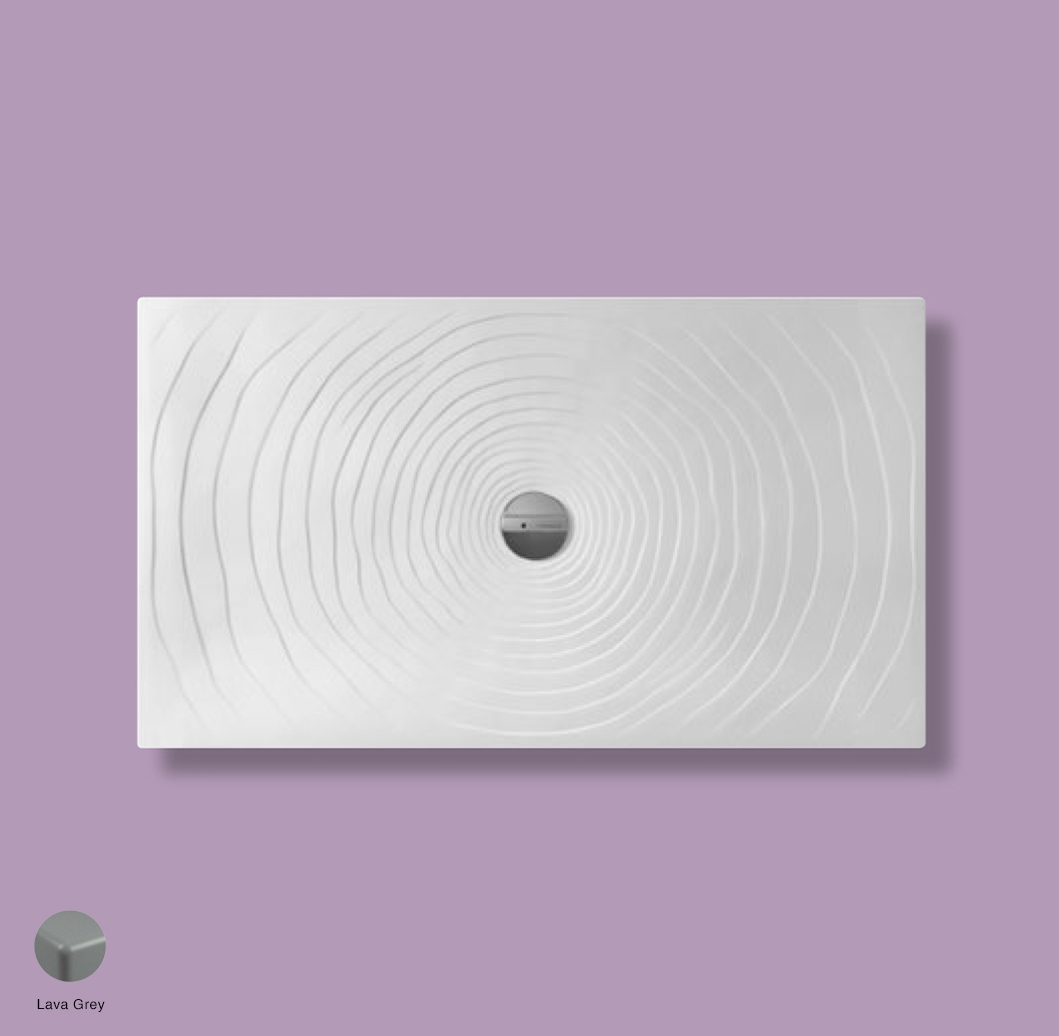 Water Drop Laid on or built-in in the floor shower tray 140x80 cm Lava Grey