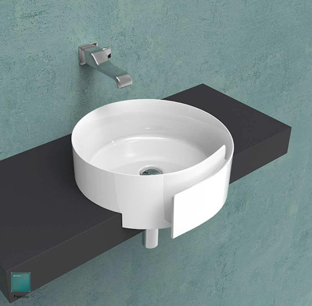 Roll Semi-inset basin 44 cm without overflow, without tap ledge Petrolio