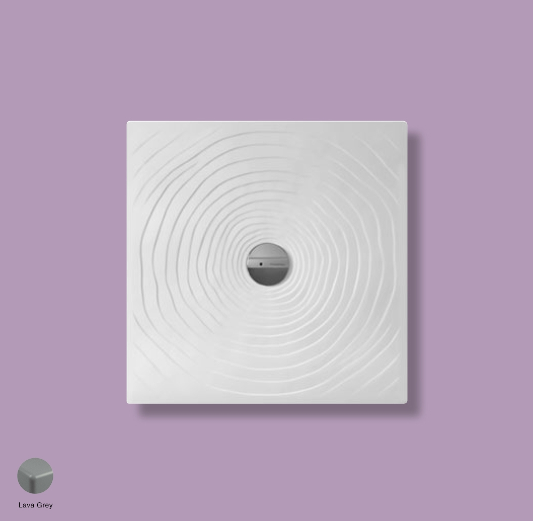 Water Drop Laid on or built-in in the floor shower tray 80x80 cm Lava Grey