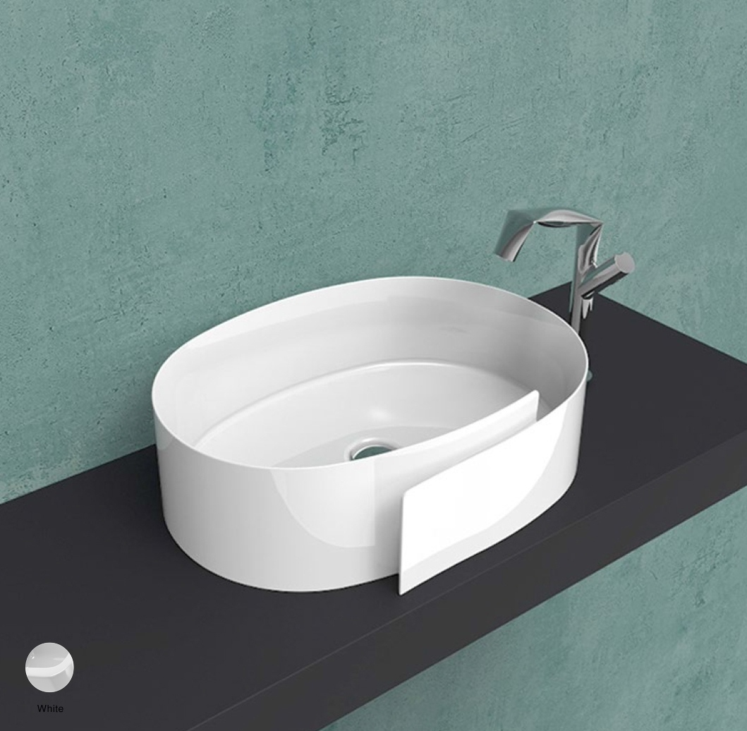 Roll Countertop basin 56 cm without overflow, without tap ledge White