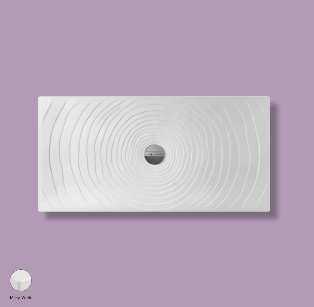 Water Drop Laid on or built-in in the floor shower tray 140x70 cm Milky White