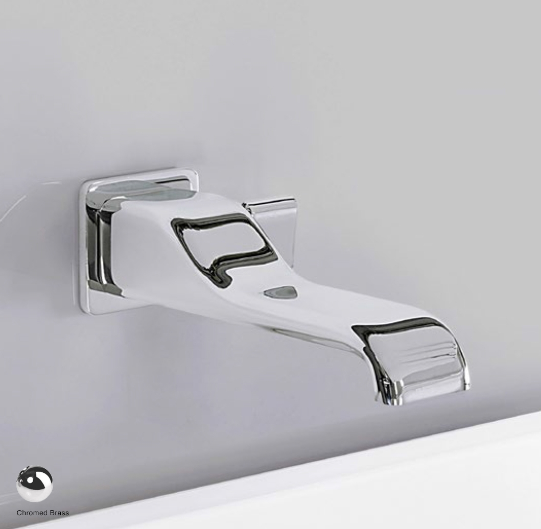 Noke Wall-mounted single lever basin mixer, drain included Glossy Chrome