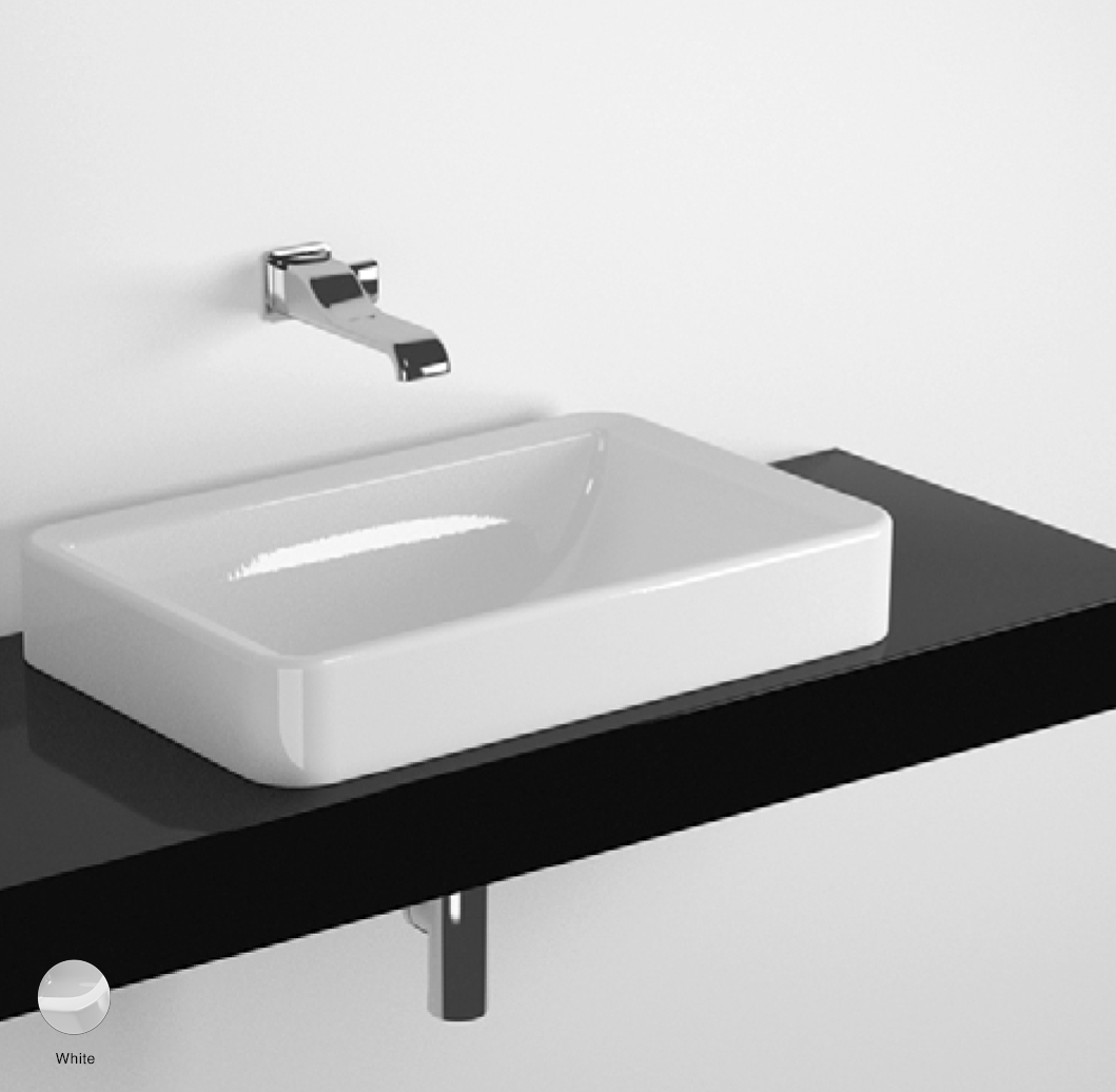 Nile Shelf from 80 to 250 x 46 x h 10 cm, for Nile 62 recessed basin White