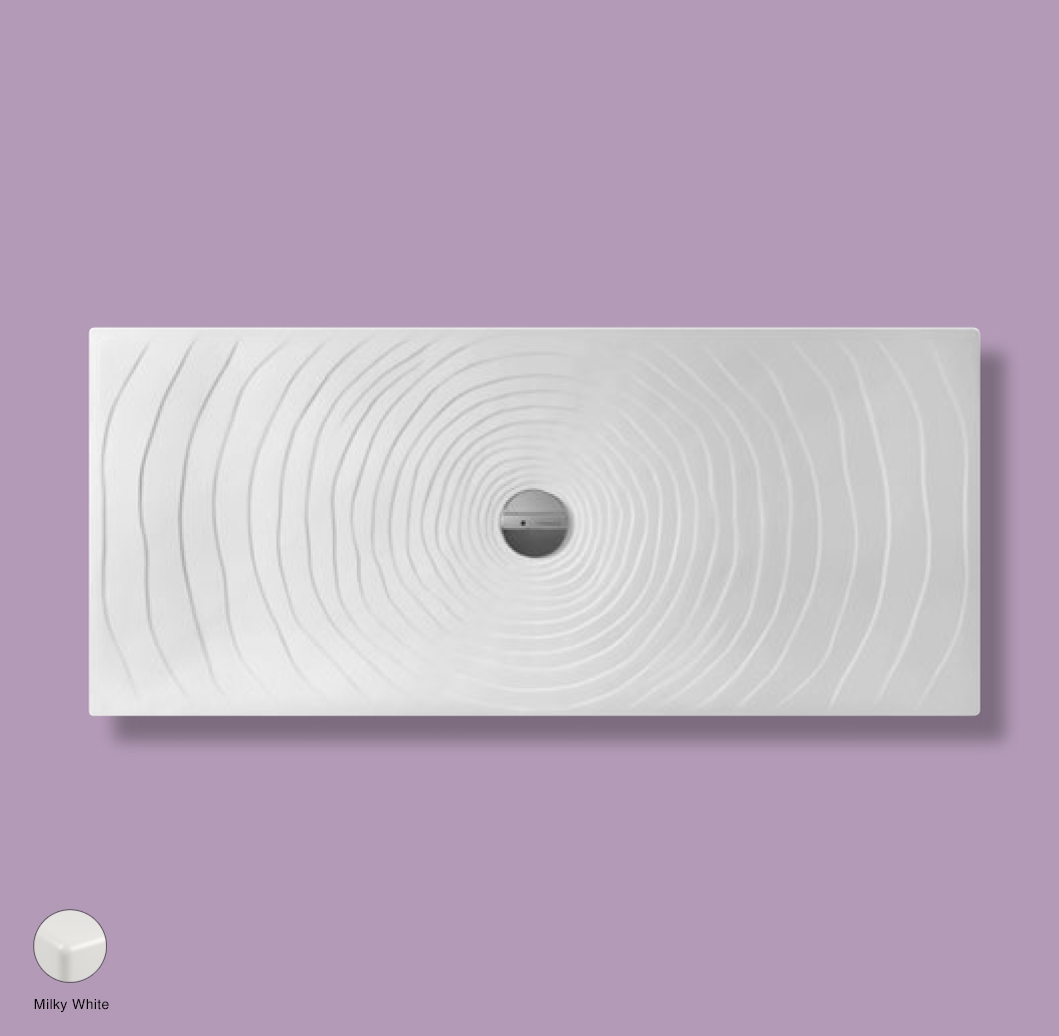 Water Drop Laid on or built-in in the floor shower tray 160x70 cm Milky White