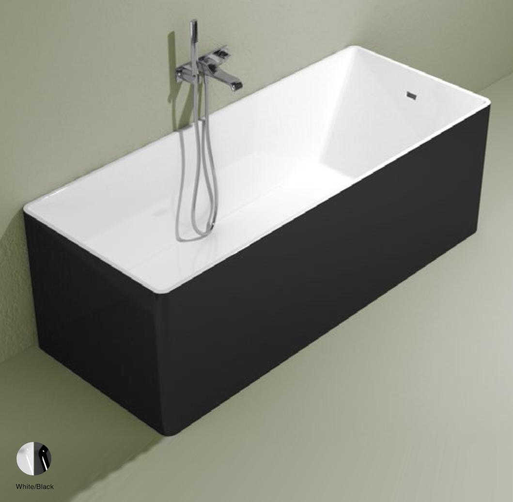 Wash Bath-tub 170 cm in Pietraluce BICOLOR White/Black
