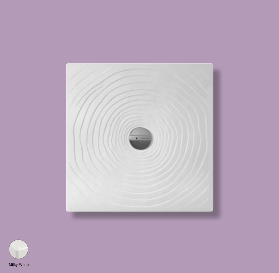 Water Drop Laid on or built-in in the floor shower tray 80x80 cm Milky White