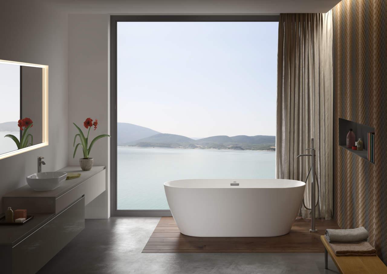 Chic Freestanding Bath White Glossy 150 x 80 x 60