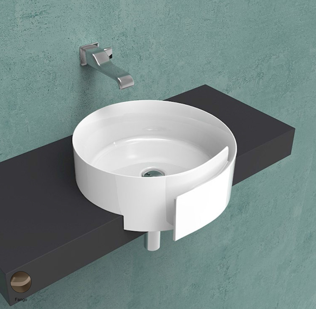 Roll Semi-inset basin 44 cm without overflow, without tap ledge Fango