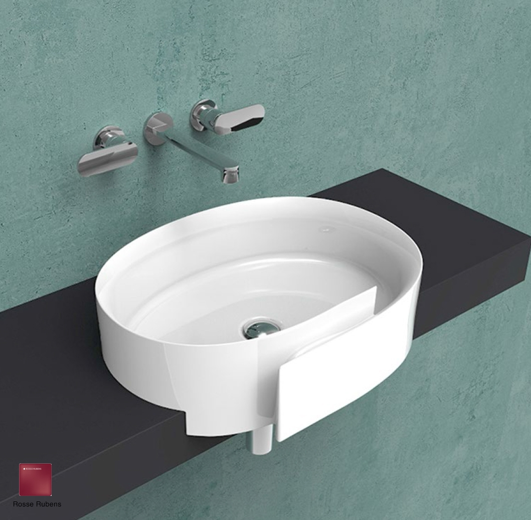 Roll Semi-inset basin 56 cm without overflow, without tap ledge Rosso Rubens