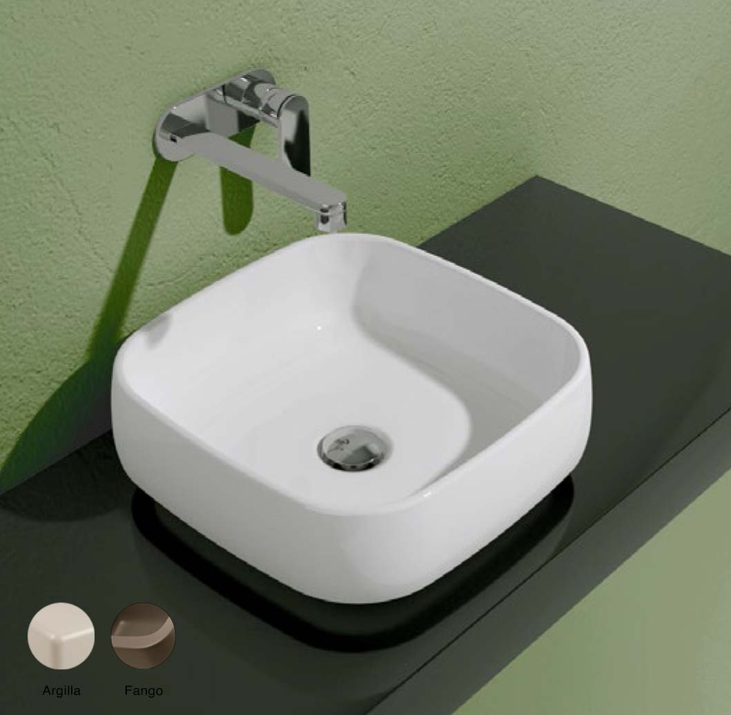 Flag Stripes Countertop basin without tap ledge 40cm Argilla + Fango Glossy