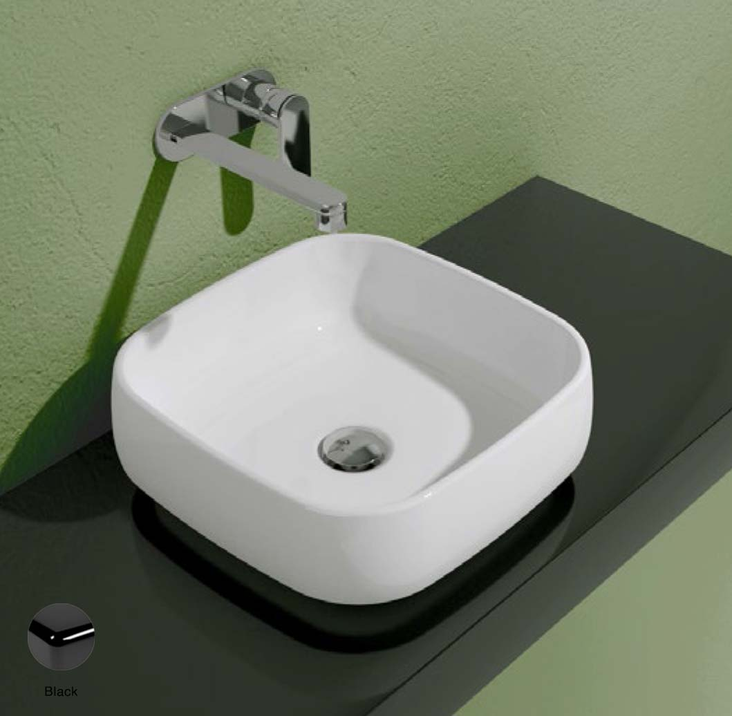Flag Countertop basin without tap ledge 40cm Black Glossy