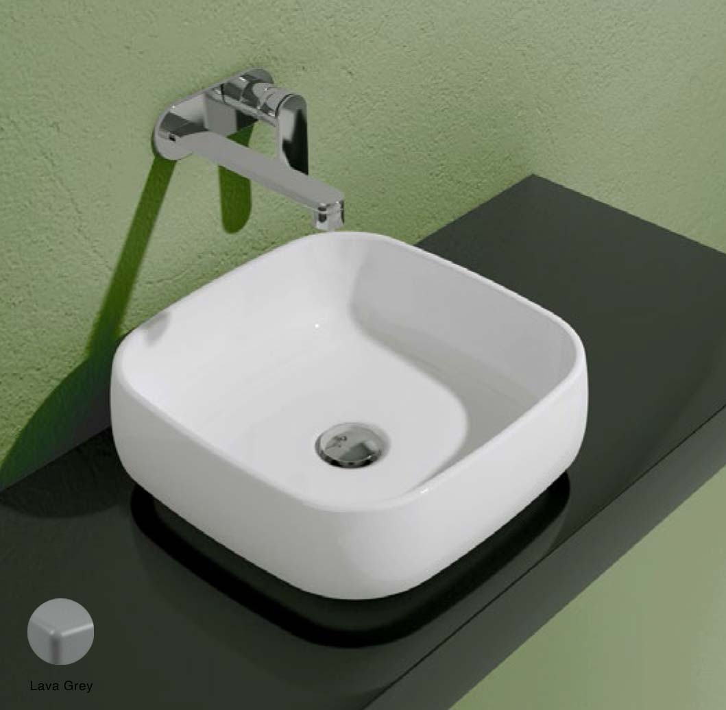 Flag Countertop basin without tap ledge 40cm Lava Grey Matte