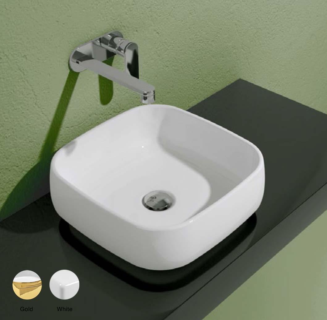 Flag Stripes Countertop basin without tap ledge 40cm Metal Oro