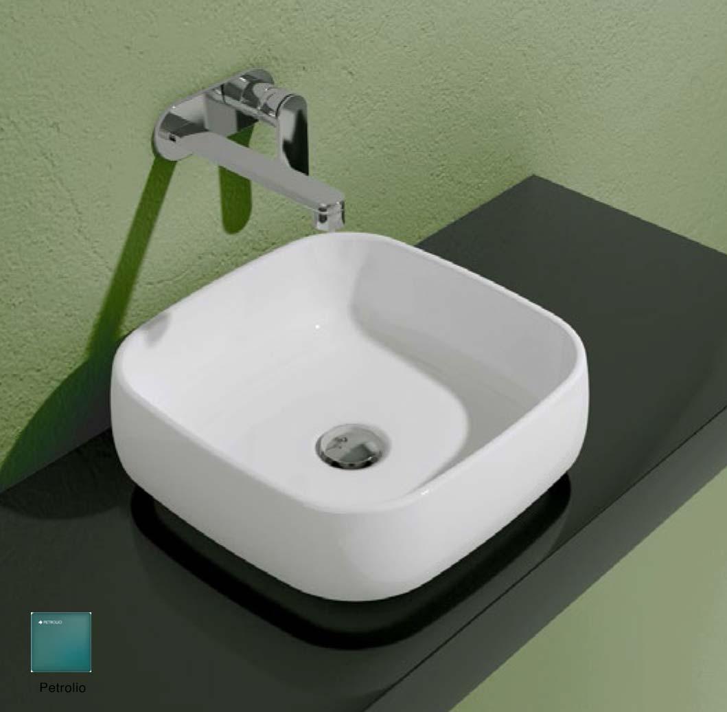 Flag Countertop basin without tap ledge 40cm Petrolio Matte