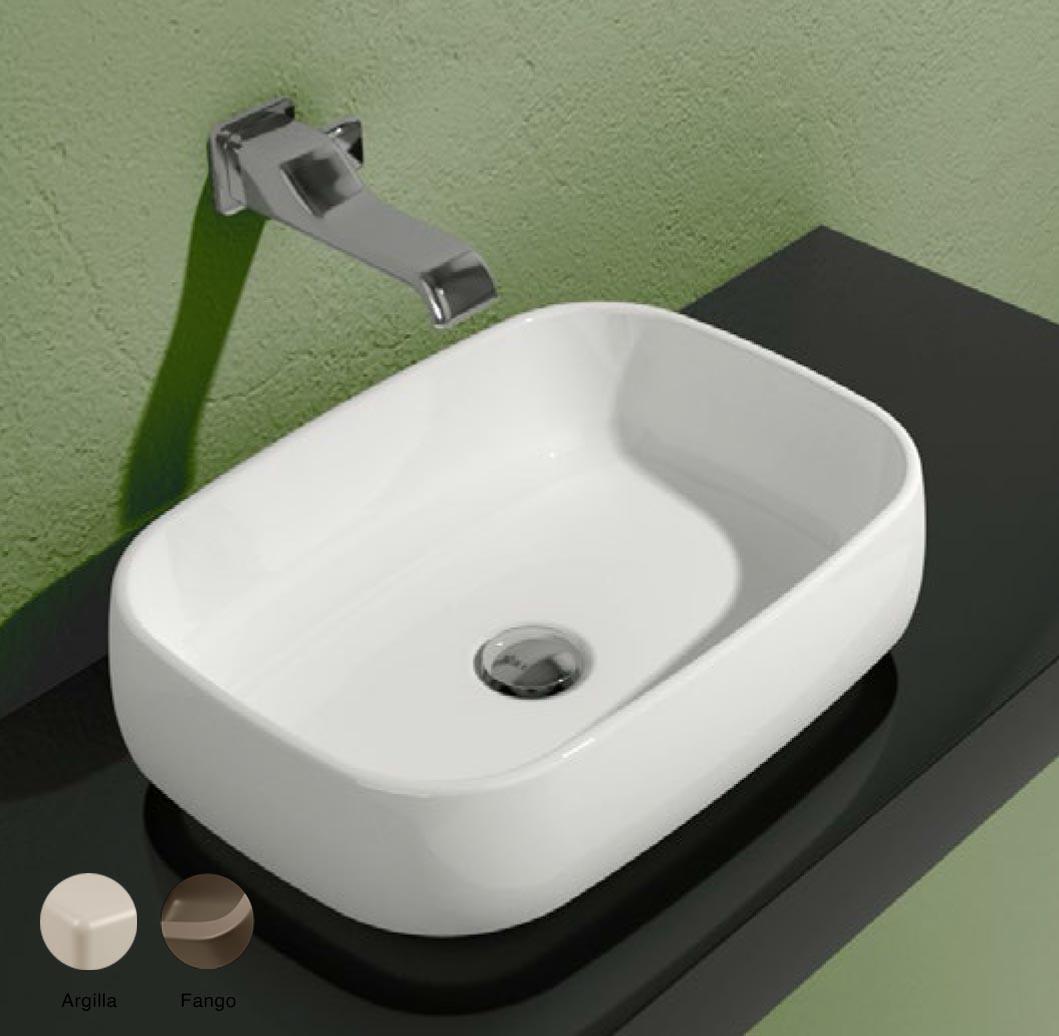 Flag Stripes Countertop basin without tap ledge 50cm Argilla + Fango Matte
