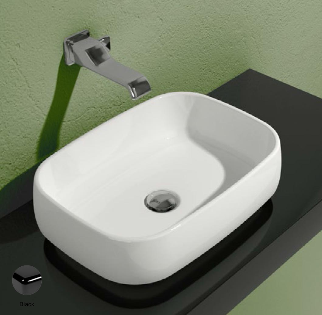 Flag Countertop basin without tap ledge 50cm Black Glossy