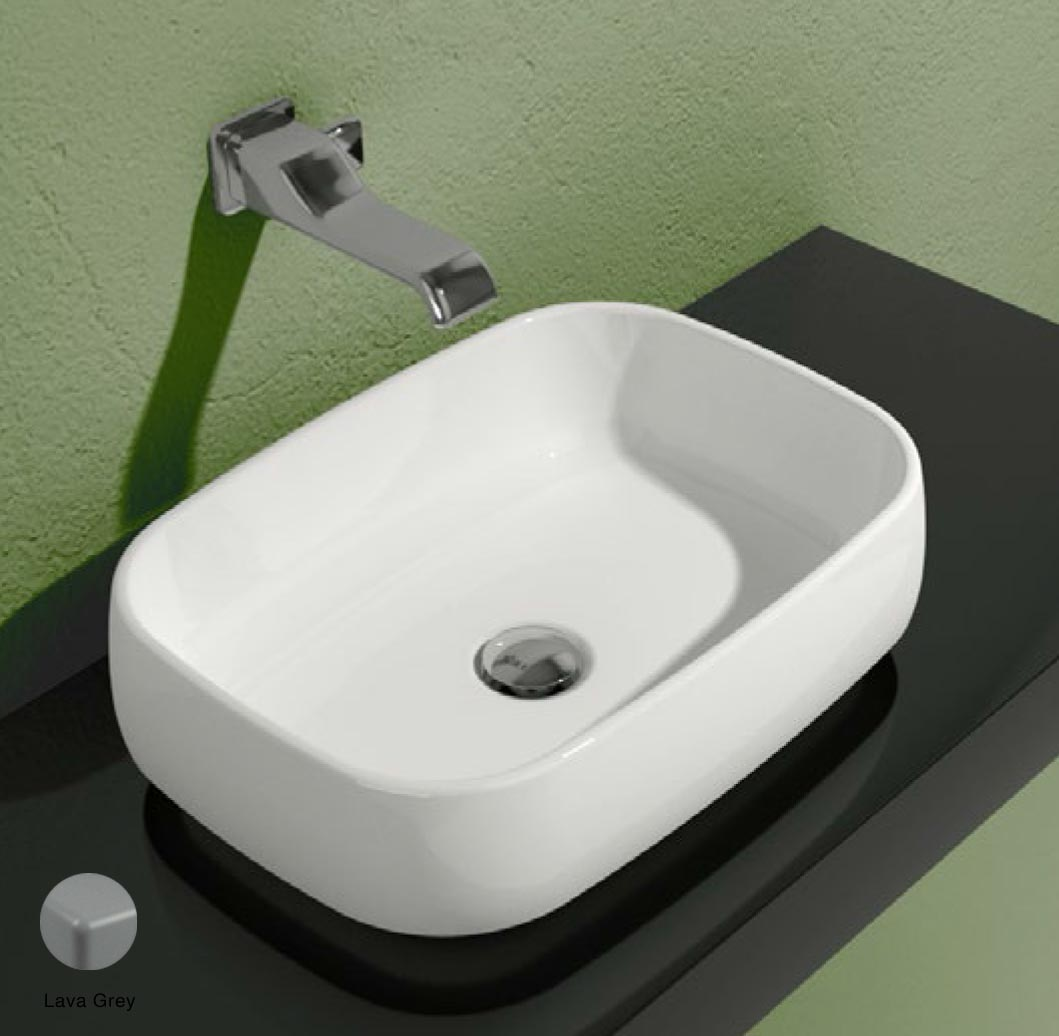 Flag Countertop basin without tap ledge 50cm Lava Grey Matte